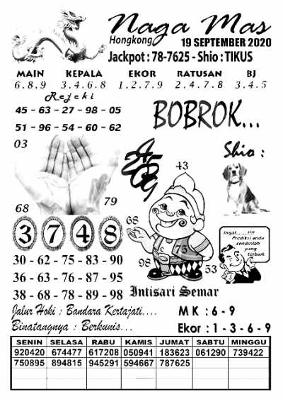 Syair Togel HK sabtu 19 september 2020